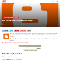 How to Add a Simple Search to your Blog