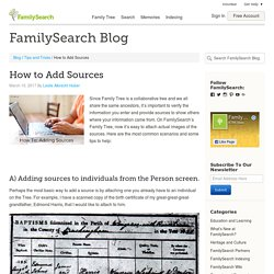 How to Add Sources on FamilySearch.org