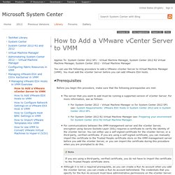How to Add a VMware vCenter Server to VMM