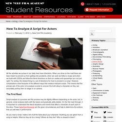 How To Analyze A Script For Actors