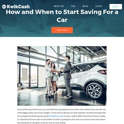 How and When to Start Saving For a Car