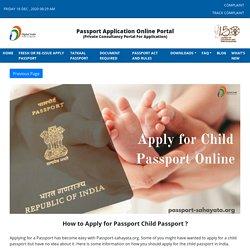 How to Apply for Passport Child Passport