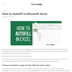 How to Autofill in Excel