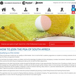 How to become a member of the PGA of South Africa