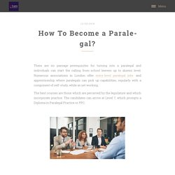 How To Become a Paralegal?