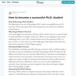 How to become a successful Ph.D. student