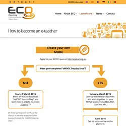 How to become an e-teacher - Ecolearning