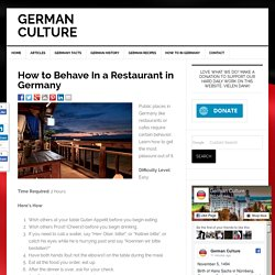 How to Behave In a Restaurant in Germany