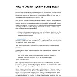 How to Get Best Quality Burlap Bags?
