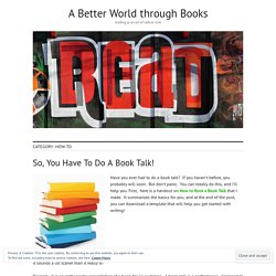 How-To – A Better World through Books