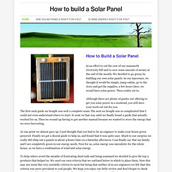 How to build a Solar Panel - Home