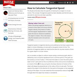 How to Calculate Tangential Speed