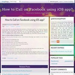 How to Call on Facebook using iOS app? - How to Call on Facebook using iOS app?