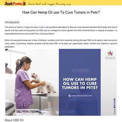 How Can Hemp Oil use To Cure Tumors in Pets?