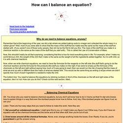 How can I balance an equation?