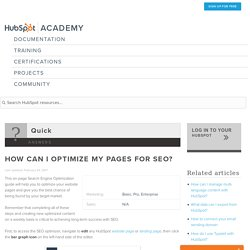 How can I optimize my pages for SEO?