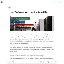 How To Change Web Hosting Smoothly