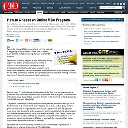 How to Choose an Online MBA Program CIO