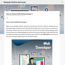 How to Choose PHP Web Developer ?