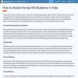 How to choose the top IAS Academy in India