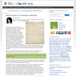 How to Cite the U.S. Constitution in APA Style