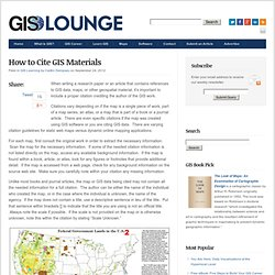 How to Cite GIS Materials