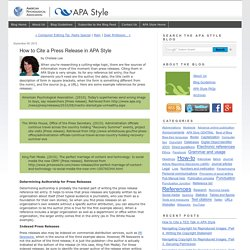 How to Cite a Press Release in APA Style