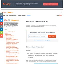 How to Cite a Website in MLA 7 - EasyBib Blog