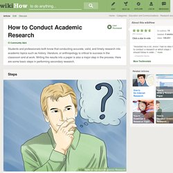 How to Conduct Academic Research