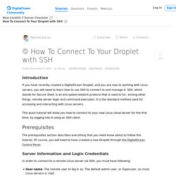 How To Connect To Your Droplet with SSH