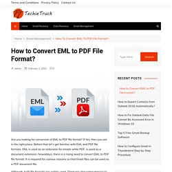 How to Convert EML to PDF File Format?