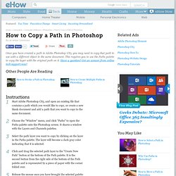 How to Copy a Path in Photoshop