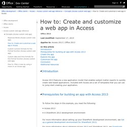 How to: Create and customize a web app in Access