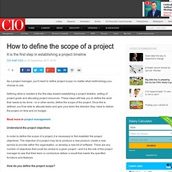 How to define the scope of a project