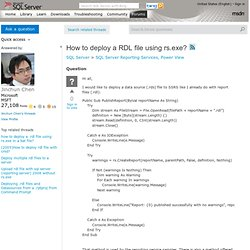 How to deploy a RDL file using rs