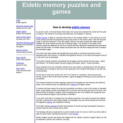 How to develop eidetic memory