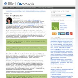 How Do I Cite a Kindle?