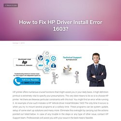 How to Fix HP Driver Install Error 1603?