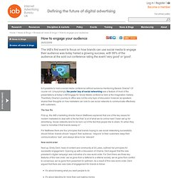 IAB UK : News and comment : Engage for Social Media