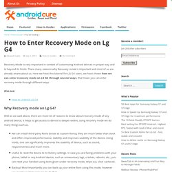 How to Enter Recovery Mode on Lg G4