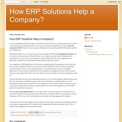How ERP Solutions Help a Company?