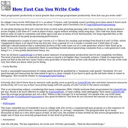 How Fast Can You Write Code