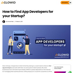 How to Find App Developers for your Startup?