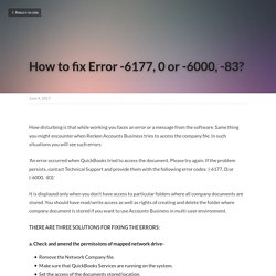How to fix Error -6177, 0 or -6000, -83?