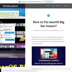 How to Fix macOS Big Sur Issues?