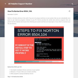 How Fix Norton Error 8504 ,104.