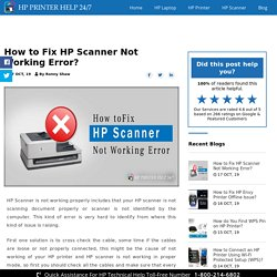 How to Fix HP Scanner Not Working Error?