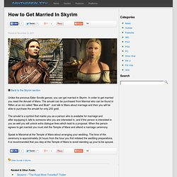 Gaming Reality: How to Get Married In Skyrim