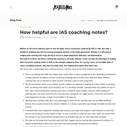 How helpful are IAS coaching notes?
