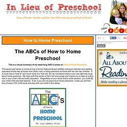 How to Home Preschool